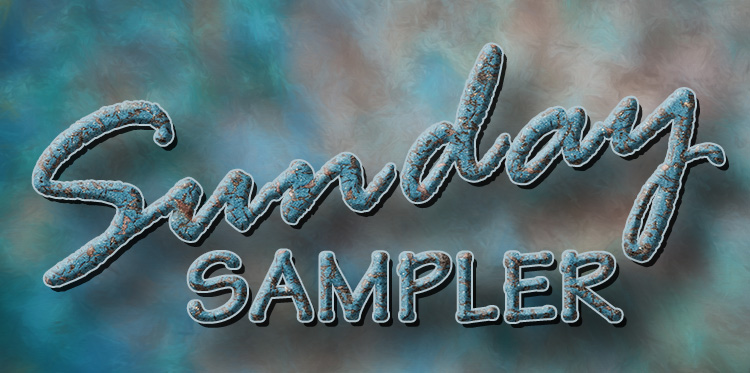 Meredith Images-Sunday Sampler Logo - blue & Cloud textures