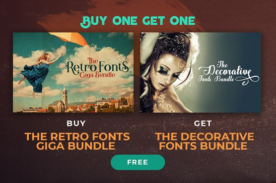 Buy the Retro Fonts Giga Bundle & Get the Decorative Fonts Bundle FREE!